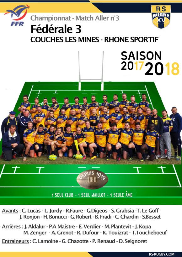 fédérale 3 - Rhone sportif Rugby - match allée 3