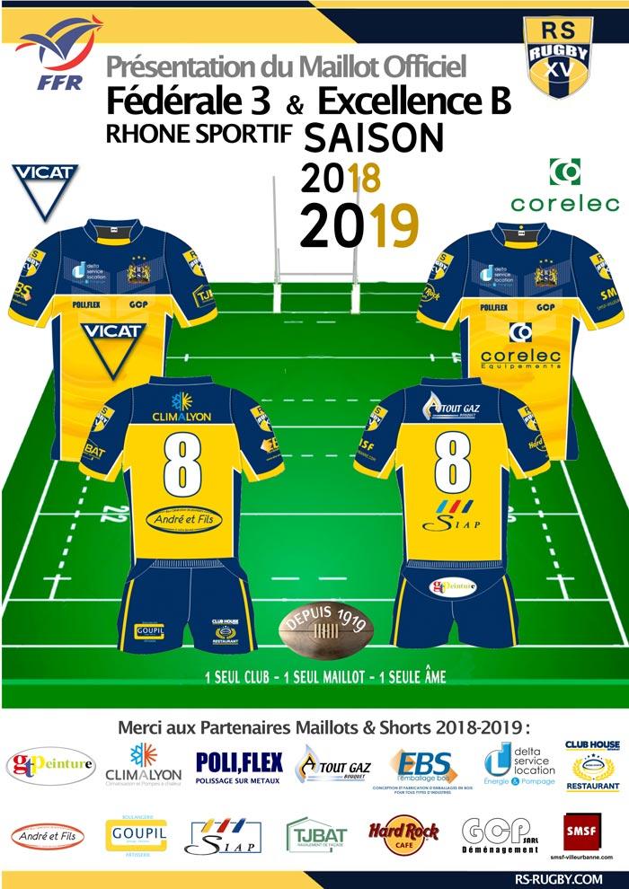 Club de rugby lyon villeurbanne Rhone Sportif Maillots officiels Maillots 2018-2019