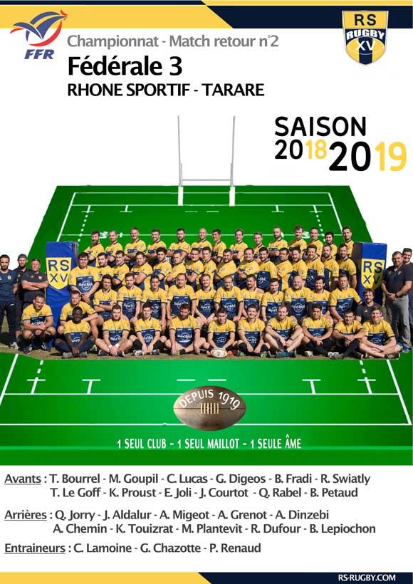 Club de rugby Lyon RS Tarare retour Fédérale 3